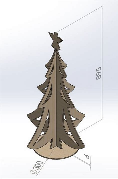 cnc router milling and laser dxf file christmas tree
