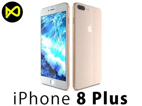 3d apple iphone 8 plus gold cgtrader