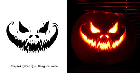scary o lantern template 10 free scary pumpkin carving patterns