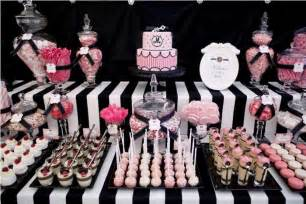 pink and black buffet pink black white guest dessert feature atlas events