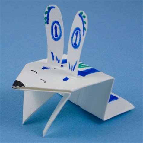 Origami Jumping Rabbit - make a jumping origami bunny easter and crafts