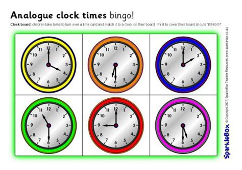 printable clock bingo analogue clock times bingo o clock and half past sb1097