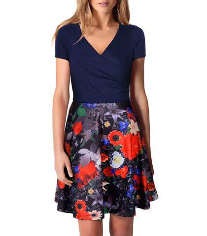 Dress Bunga Pita Navy Topi 1 fit and flare dress navy t shirt top floral skirt section