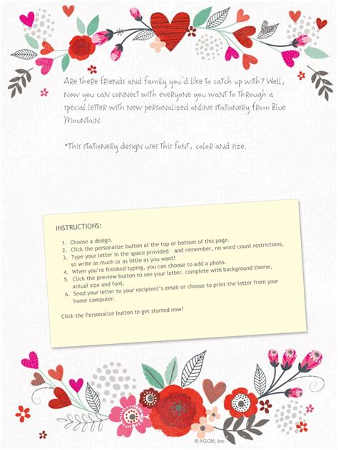 layout of a love letter quot blooming wishes love letter quot valentine s day stationery