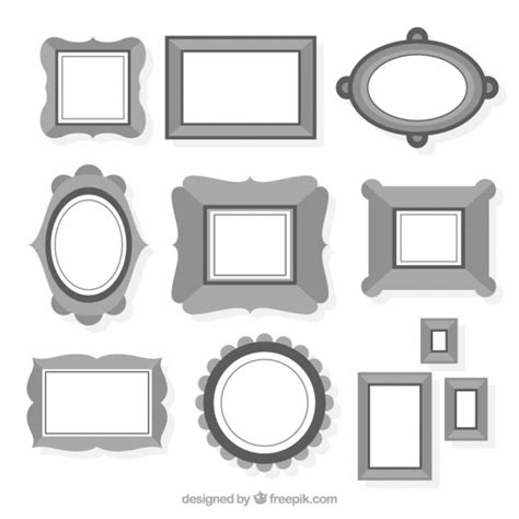 different picture frames collection of different frames in black and white vector