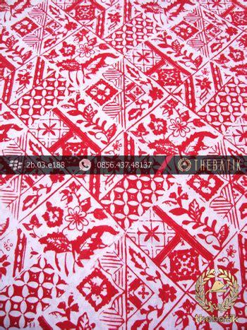 Kain Batik Buket Kawung Jenggot jual batik cap motif tambal bouquet merah kelengan