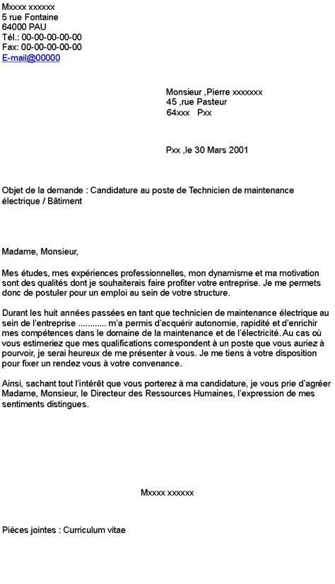 Lettre De Motivation Candidature Spontanée Technicien Maintenance Candidature Au Poste De Technicien De Maintenance 233 Lectrique B 226 Timent