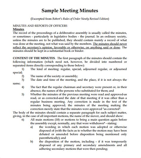7 free meeting minutes templates excel pdf formats