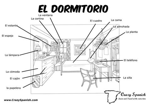 bedroom in spanish language 7 best ideas about spanish vocabulary for printing on