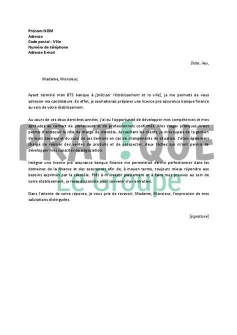 Lettre De Motivation Ecole Licence Pro Alternance Lettre De Motivation Pour Une Licence Pro Assurance Banque Finance Pratique Fr