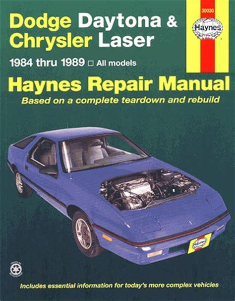 dodge daytona chrysler laser repair manual 1984 1989 haynes