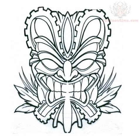 free coloring pages of tiki mask