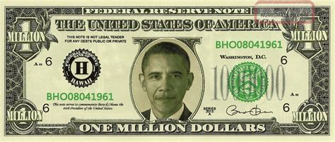 Obama Background Check Bill Barack Obama 1 Million Dollar Bills Realistic Looking Novelty Money
