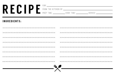 Free Black And White Recipe Card Template Word top 5 resources to get free recipe card templates word