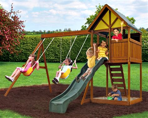 Wooden Treehouse With Slide