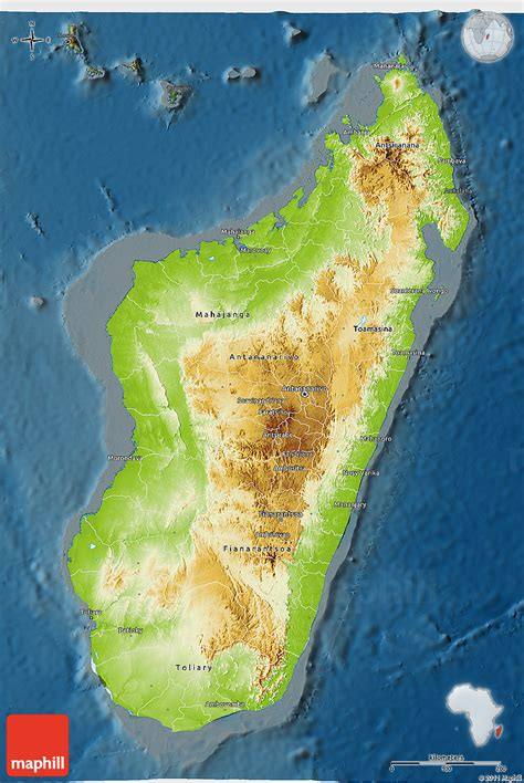 physical map of madagascar physical 3d map of madagascar darken