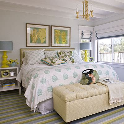 grey yellow and teal bedroom center piece 20 beautiful beach cottages coastal living
