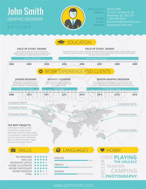 Infographic Resume Template 1 Infographicsource Com Infographic Templates Icons And Infographic Resume Template Free
