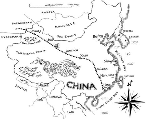 Great Wall Of China Map Outline by Yining 171 Across Continents