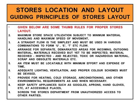 location and layout of warehouse stores management