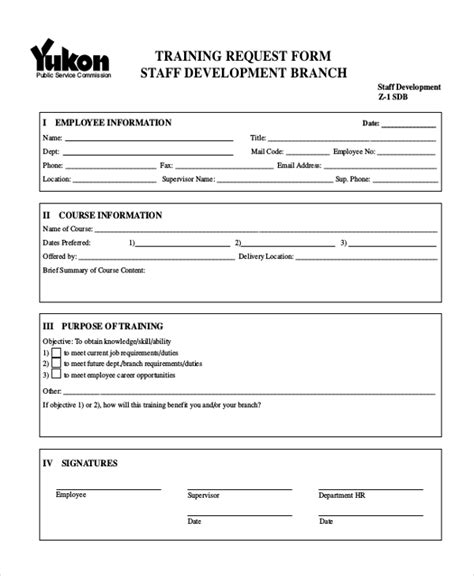 training request form template sle request forms 11