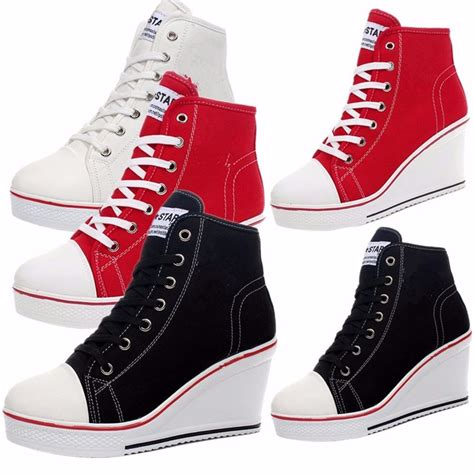 fashionable sneakers for fashion shoes canvas high top wedge heel lace up
