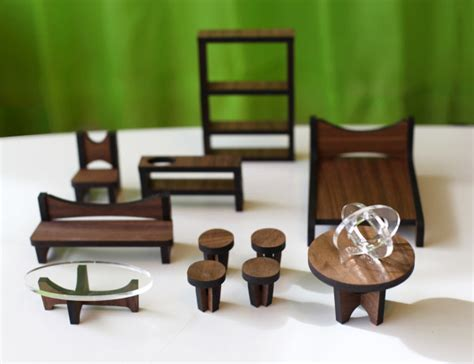 sustainable mid century modern dollhouse and furniture