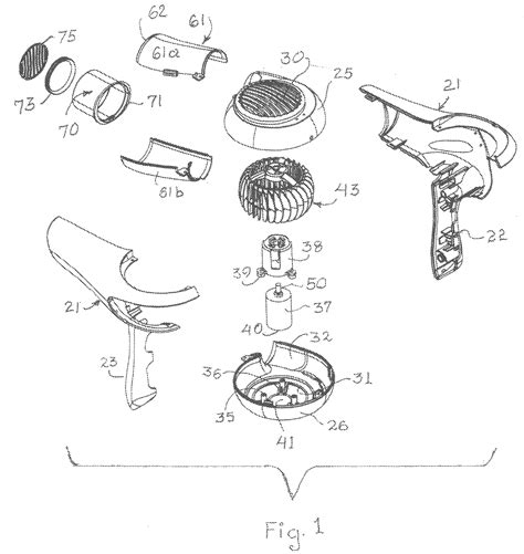 Hair Dryer Assembly patent us20110010958 hair dryer patents