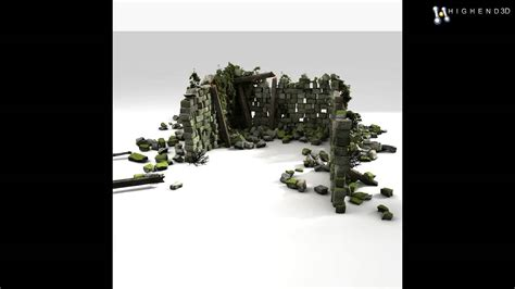 Stone Rock Old Brick House Ruin Jungle Building 3D Model