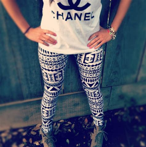 tribal pattern leggings outfit chanel tank with tribal aztec leggings cute outfits