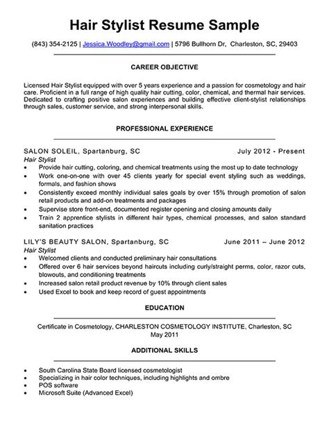Resume For Hairstylist by Hair Stylist Resume Sle Writing Tips Resume Companion
