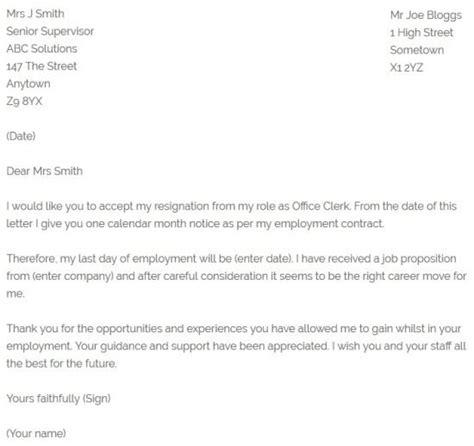 office clerk resignation letter resignletterorg