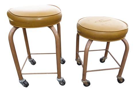 metal rolling garden stool mid century modern yellow vinyl metal rolling stools a