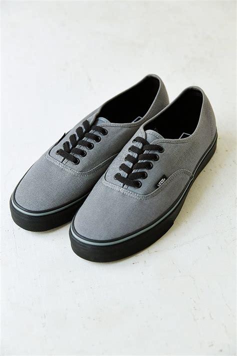 Vans Authentic Grey Black lyst vans authentic black sole s sneaker in gray for