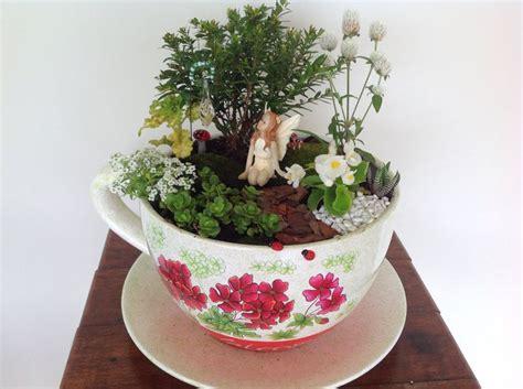 fairy garden in a giant teacup planter fairy garden ideas pinterest gardens planters and cups