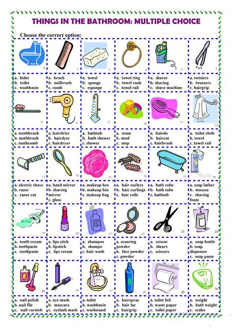 Things In The Bathroom In things in the bathroom choice worksheet free