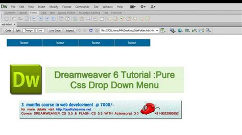 tutorial css menu drop down dreamweaver cs 6 tutorial pure css drop down menu youtube