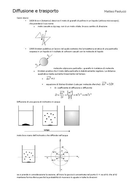 Fisiologia Cellulare (Diffusione, Potenziale, Muscolare