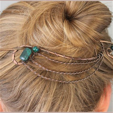 Set Hair Bun Holder Tasseled Pin copper wire necklace copper necklace from copper
