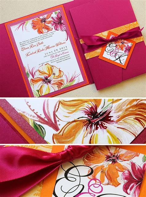 fuschia wedding invitations fuschia and tangerine miami hibiscus wedding stationerymomental designs