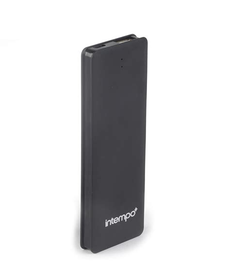 intempo black 2600mah slim polymer power bank charger