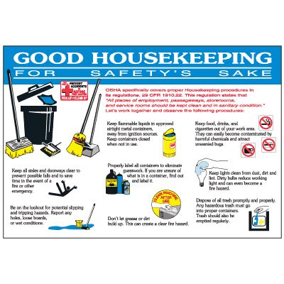 housekeeping workplace safety wallchart safety signs