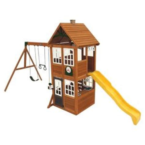 swing set hardware home depot cedar summit willowbrook wooden playset swing set f24952