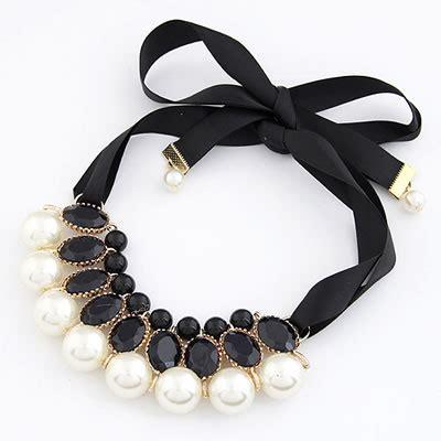 Gelang Korea White Ribbon Pearl Bracelet 18k white imitate pearl collar asujewelry