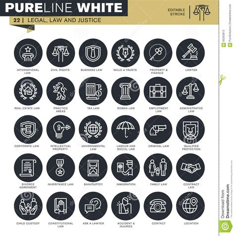 Thin Line Set Of 2 Set Of Thin Line Icons For Lawyer Stock Vector Image 65263813