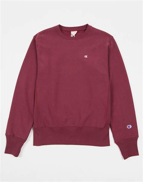 Sweater Pusple Maroon Lt Babyterry Maroon chion weave crew neck sweatshirt burgundy in