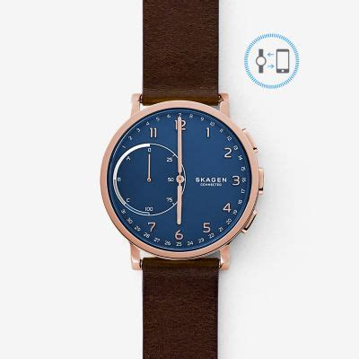 amazon com skagen hagen titanium and leather hybrid smartwatch hybrid smartwatch hagen dark brown leather skagen