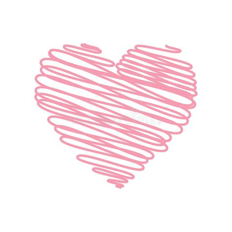 Decorative Chalkboard Heart Pencil Scribble Sketch Drawing In Pink On White