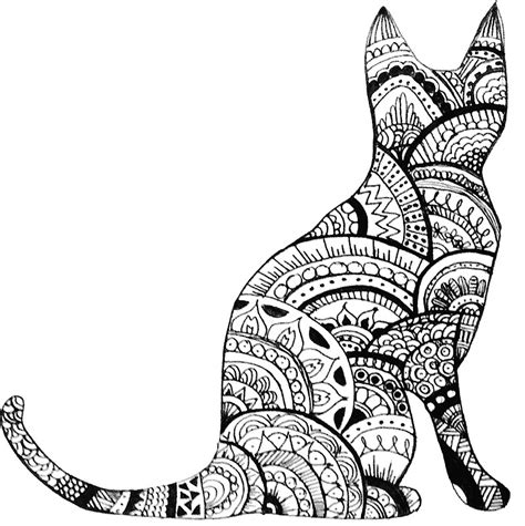cat zentangle coloring page zentangle cat drawing by ayseart un interessante