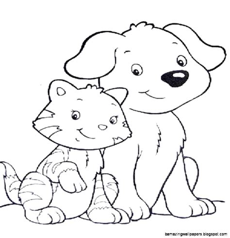 free coloring pages of dogs and cats